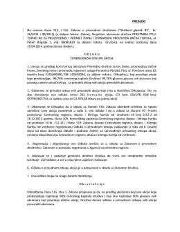 Predlog odluka o prinudnom otkupu PP Topiko