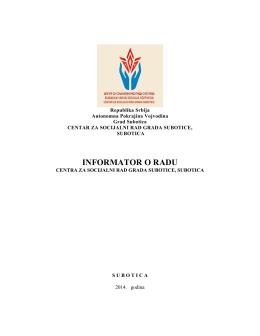 INFORMATOR O RADU - Centar za socijalni rad grada Subotice
