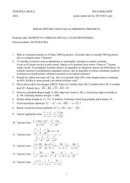 Задаци из математике за матурски испит