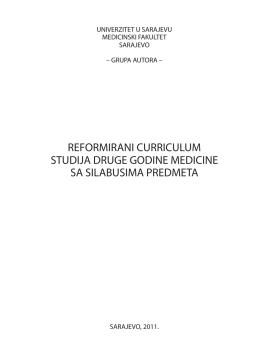 REFORMIRANI CURRICULUM STUDIJA DRUGE GODINE