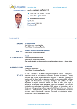Europass CV - Univerzitet u Travniku