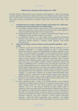 Několik vět k připravované strategii romské integrace