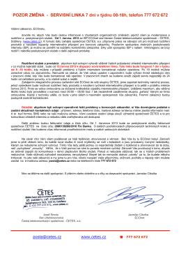 dopis zakaznici CETES ECONET