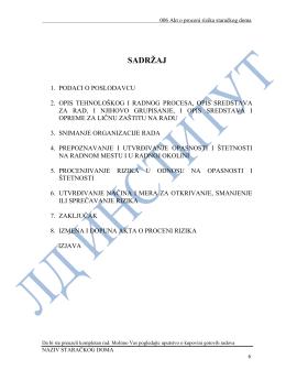 BZR 4.1.006. Akt o proceni rizika staračkog doma
