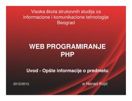 WEB PROGRAMIRANJE PHP Uvod - Opšte