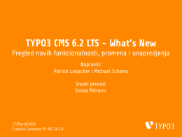 TYPO3 CMS 6.2 LTS - What`s New - Pregled novih