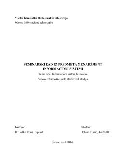 seminarski rad iz predmeta menadžment informacioni sistemi