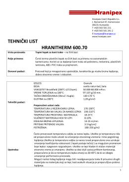 TEHNIČKI LIST HRANITHERM 600.70