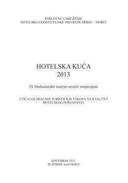 Zbornik radova - Hotelska kuća 2013.
