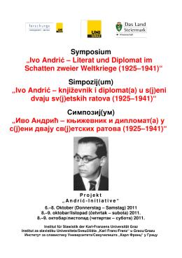 """Symposium """"Ivo Andrić – Literat und Diplomat im Schatten zweier"""