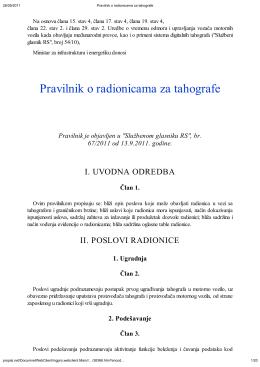 Pravilnik o radionicama za tahografe - AMSS-CMV
