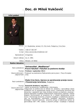 Doc. dr Miloš Vukčević - Univerzitet `Mediteran`