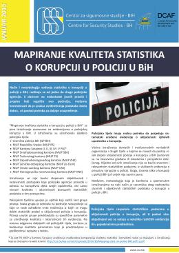 MAPIRANJE KVALITETA STATISTIKA O KORUPCIJI U