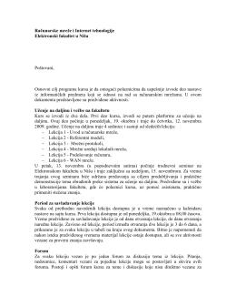 Računarske mreže i Internet tehnologije Elektronski fakultet u Nišu