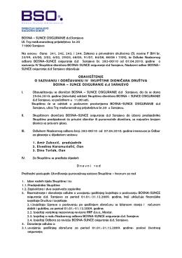 BOSNA – SUNCE OSIGURANJE ddSarajevo Ul. Trg međunarodnog