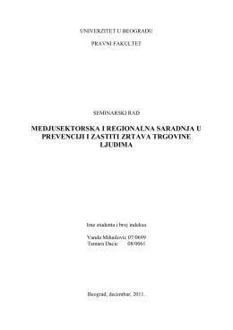 medjusektorska i regionalna saradnja u prevenciji i zastiti zrtava