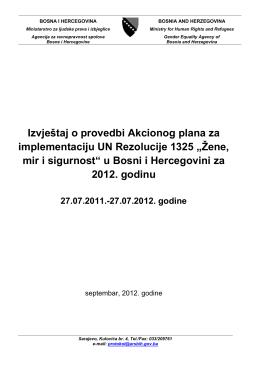 Sarajevo, 25 - Akcioni plan za implementaciju UNSCR 1325 u BiH