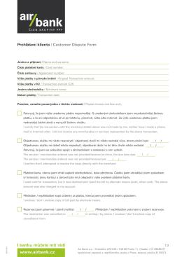 Čestné prohlášení – transakce neautorizované klientem