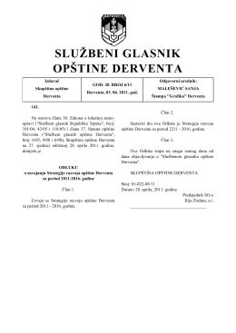 strategija razvoja opštine derventa 2011 - 2016
