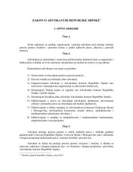 Zakon o advokaturi Republike Srpske