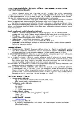 Pravidla pro podávání stížností - Centrum sociálních služeb Tišnov