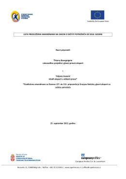lista predloženih amandmana na zakon o zaštiti potrošača od 2010