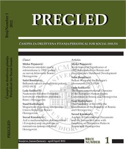 PREGLED Broj/Number 1 2012 - Časopis za društvena pitanja