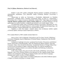 Prof. dr Ljiljana, Radomirova, Marković (rođ. Đurović) Rođena 5