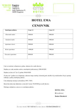 Preuzmite cenovnik - Hotel EMA Kragujevac