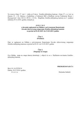Prijedlog Odluke o davanju saglasnosti na Odluku o privremenom
