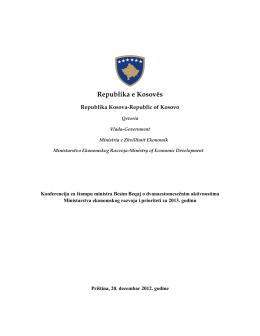 Ministria e Zhvillimit Ekonomik në bazë të Kushtetutës së