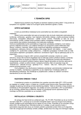 Tehnički opis elektro instalacija, kućna automatika, 245m