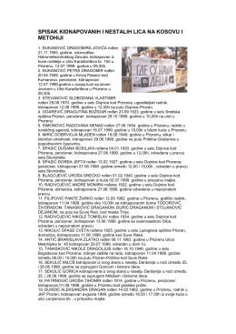 spisak kidnapovanih i nestalih lica na kosovu i metohiji