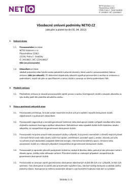 Všeobecné smluvní podmínky NETIO.CZ