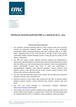 Všeobecné obchodní podmínky EMC a.s. platné od 26.11. 2014