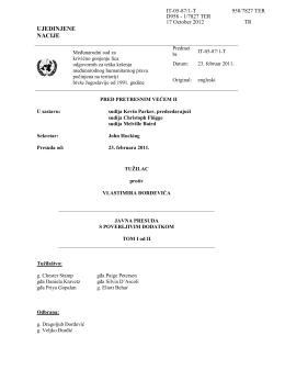 Presuda Pretresnog veća MKSJ u predmetu Đorđević, Tom I