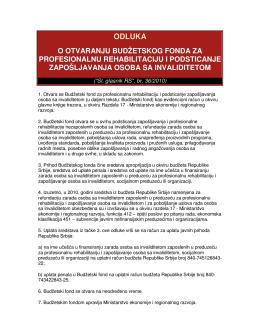 Odluka o otvaranju budžetskog fonda za profesionalnu rehabilitaciju