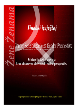 Gender Senzibilizacija za Gender Perspektivu