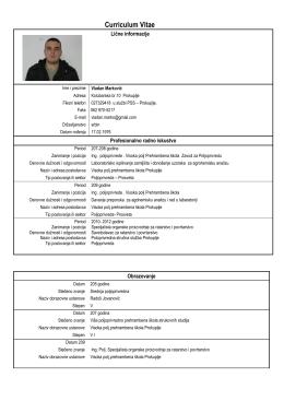 Kompletna radna biografija - Poljoprivredna Savetodavna i Stručna