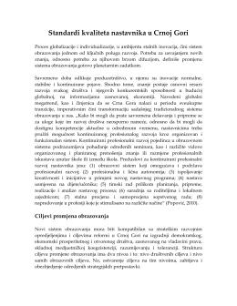 Standardi kvaliteta nastavnika u Crnoj Gori