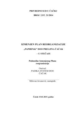 Izmenjeni plan reorganizacije Papirpak Cacak