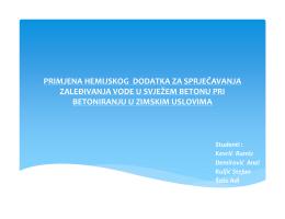 primjena hemijskog dodatka za sprječavanja zaleðivanja vode u