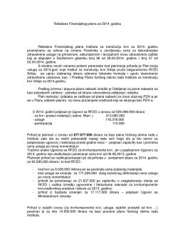 Rebalans Finansijskog plana za 2014. god.