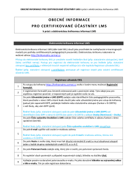 obecné informace pro certifikované účastníky lms