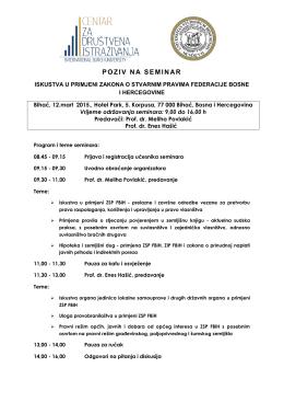 POZIV NA SEMINAR - Pravni fakultet