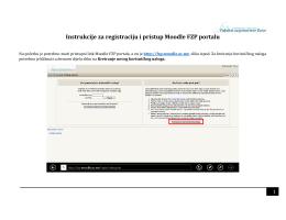 Instrukcije za registraciju i pristup Moodle FZP portalu