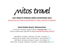 LAST MINUTE PONUDE GRČKA APARTMANI 2014