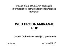WEB PROGRAMIRANJE PHP
