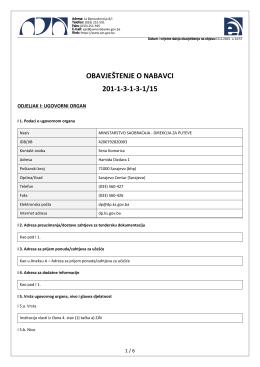 obavještenje o nabavci 201-1-3-1-3-1/15