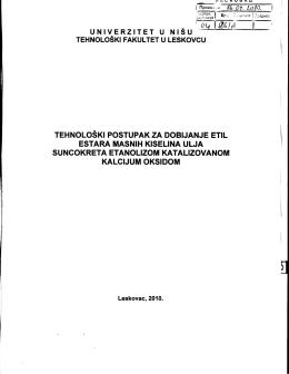 Tehnoloski postupak za dobijanje etil estara .pdf